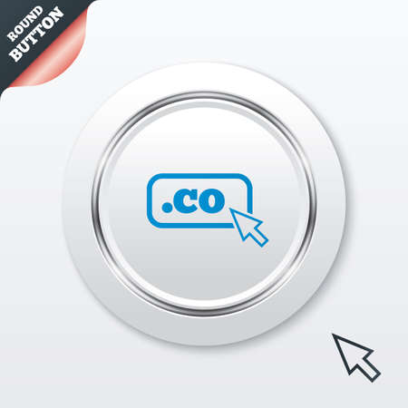 co: Domain CO sign icon. Top-level internet domain symbol with cursor pointer. White button with metallic line. Modern UI website button with mouse cursor pointer. Vector Illustration