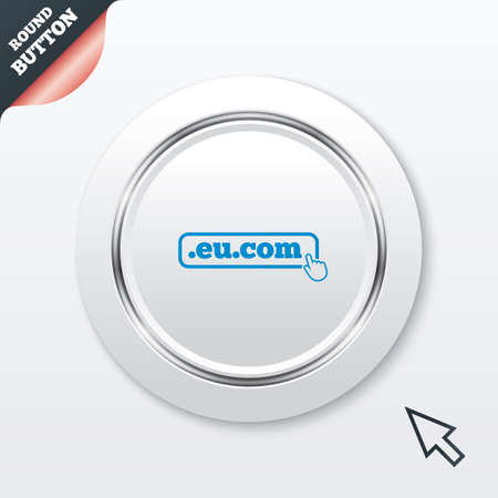 subdomain: Domain EU.COM sign icon. Internet subdomain symbol with hand pointer. White button with metallic line. Modern UI website button with mouse cursor pointer. Vector Illustration