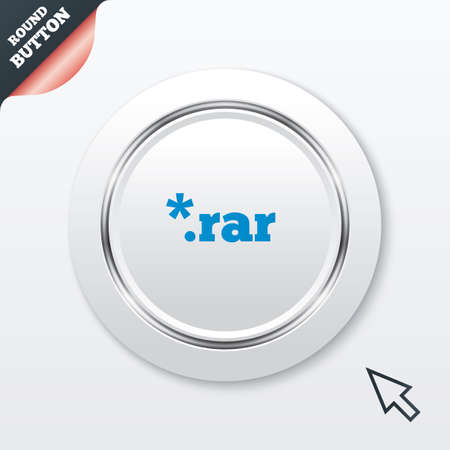 rar: Archive file icon. Download compressed file button. RAR zipped file extension symbol. White button with metallic line. Modern UI website button with mouse cursor pointer. Vector