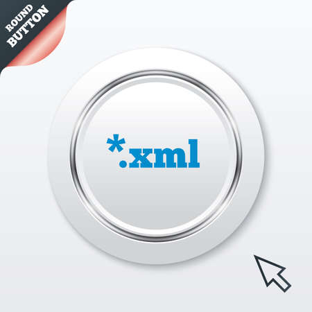 xml: File document icon. Download XML button. XML file extension symbol. White button with metallic line. Modern UI website button with mouse cursor pointer. Vector