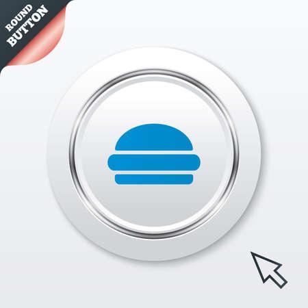 Hamburger sign icon. Fast food symbol. Junk food. White button with metallic line. Modern UI website button with mouse cursor pointer. Vector Vector