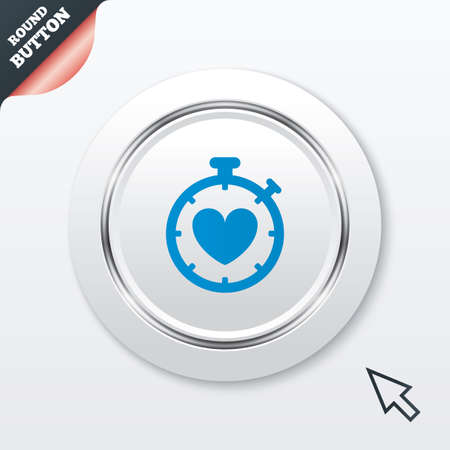 palpitation: Heart Timer sign icon. Stopwatch symbol. Heartbeat palpitation. White button with metallic line. Modern UI website button with mouse cursor pointer. Vector Illustration