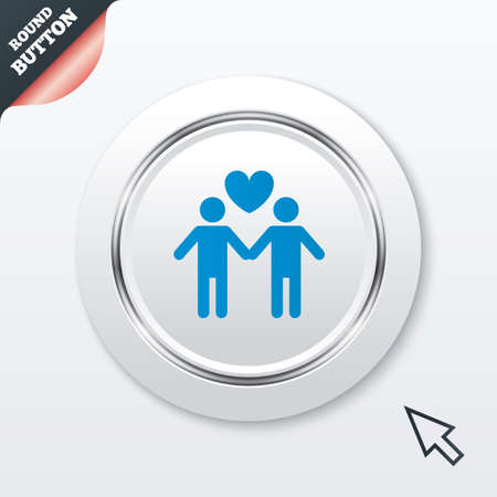 Couple sign icon. Male love male. Gays with heart. White button with metallic line. Modern UI website button with mouse cursor pointer. Vector Vector