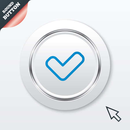 check sign: Check sign icon. Yes button. White button with metallic line. Modern UI website button with mouse cursor pointer. Vector Illustration