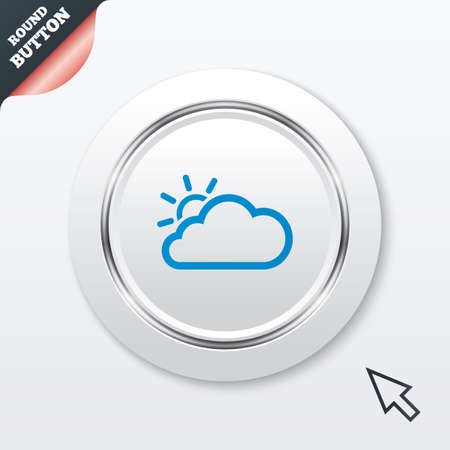 metallic  sun: Cloud and sun sign icon. Weather symbol. White button with metallic line. Modern UI website button with mouse cursor pointer. Vector