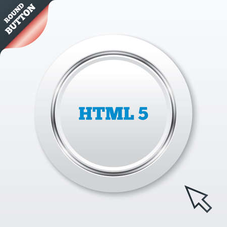 html5: HTML5 sign icon. New Markup language symbol. White button with metallic line. Modern UI website button with mouse cursor pointer. Vector