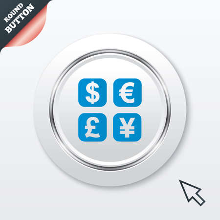 currency converter: Currency exchange sign icon. Currency converter symbol. Money label. White button with metallic line. Modern UI website button with mouse cursor pointer. Vector