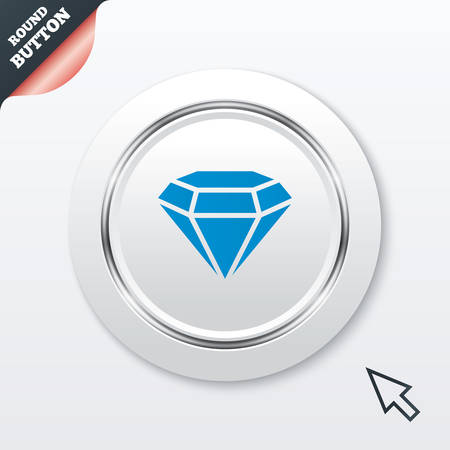 Diamond sign icon. Jewelry symbol. Gem stone. White button with metallic line. Modern UI website button with mouse cursor pointer. Vector Vector
