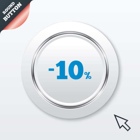 10 percent discount sign icon. Sale symbol. Special offer label. White button with metallic line. Modern UI website button with mouse cursor pointer. Vector Vector