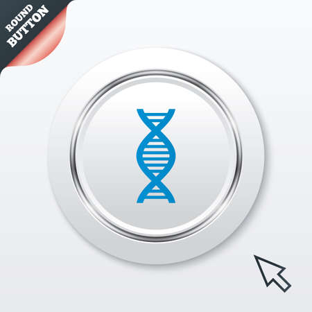 DNA sign icon. Deoxyribonucleic acid symbol. White button with metallic line. Modern UI website button with mouse cursor pointer. Vector Vector