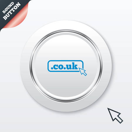 subdomain: Domain CO.UK sign icon. UK internet subdomain symbol with cursor pointer. White button with metallic line. Modern UI website button with mouse cursor pointer. Vector