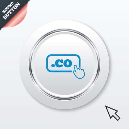 co: Domain CO sign icon. Top-level internet domain symbol with hand pointer. White button with metallic line. Modern UI website button with mouse cursor pointer. Vector