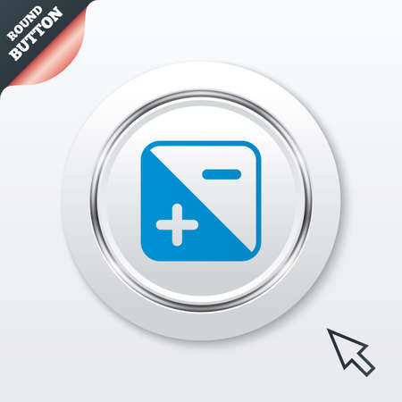 Exposure photo camera sign icon. Quantity of light settings. White button with metallic line. Modern UI website button with mouse cursor pointer. Vector Vector