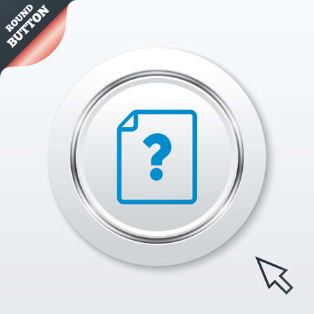 File document help icon. Question mark symbol. White button with metallic line. Modern UI website button with mouse cursor pointer. Vector Vector