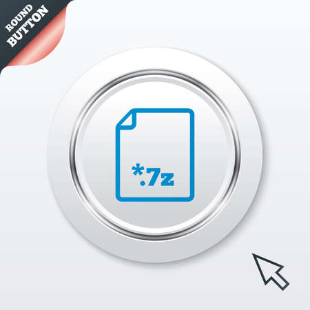 zipped: Archive file icon. Download compressed file button. 7z zipped file extension symbol. White button with metallic line. Modern UI website button with mouse cursor pointer. Vector Illustration