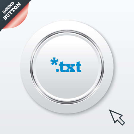 txt: Text file icon. Download txt doc button. Txt file extension symbol. White button with metallic line. Modern UI website button with mouse cursor pointer. Vector Illustration