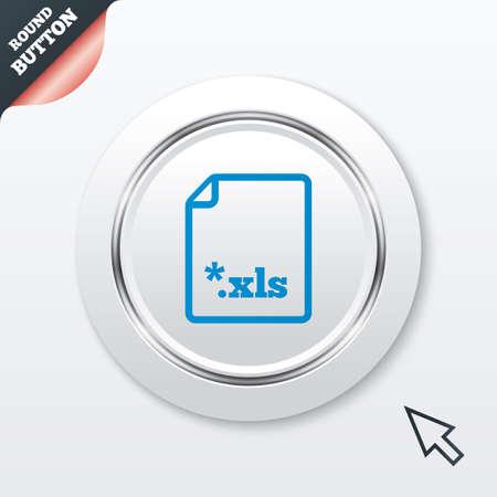 sobresalir: Icono de documento de archivo de Excel. Descarga bot�n xls. S�mbolo de extensi�n de archivo XLS. Bot�n blanco con la l�nea met�lica. Bot�n moderno del sitio web de IU con el puntero del cursor del rat�n. Vector