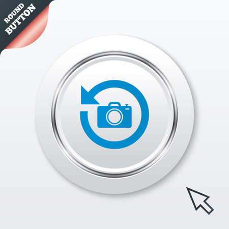 button front: Front photo camera sign icon. Digital photo camera symbol. Change front to back. White button with metallic line. Modern UI website button with mouse cursor pointer. Vector Illustration