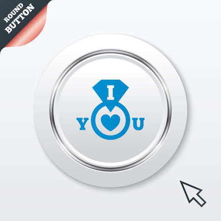 i love you sign: I Love you sign icon. Valentines day symbol. White button with metallic line. Modern UI website button with mouse cursor pointer. Vector Illustration