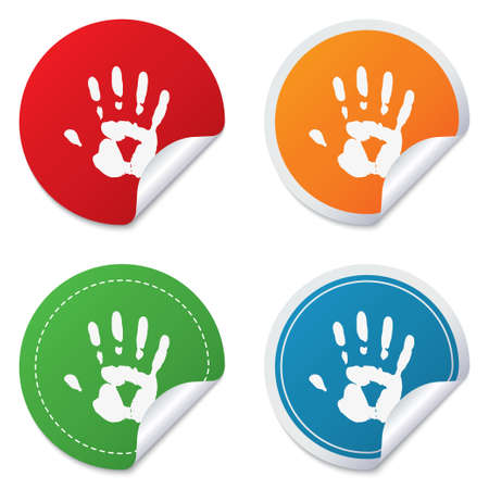 Hand print sign icon. Stop symbol. Round stickers. Circle labels with shadows. Curved corner. photo