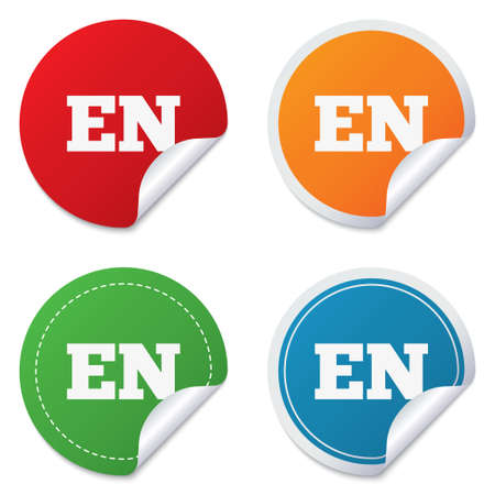 en: English language sign icon. EN translation symbol. Round stickers. Circle labels with shadows. Curved corner.