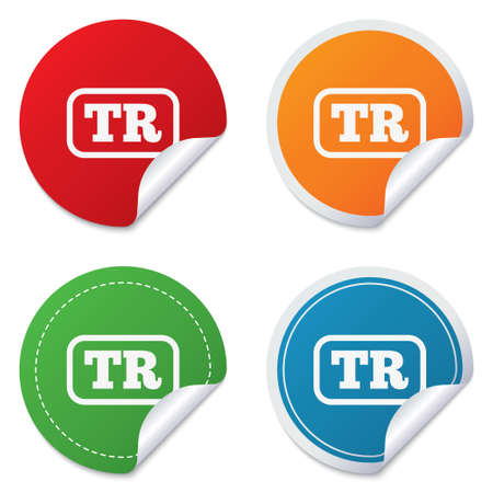 tr: Turkish language sign icon. TR Turkey Portugal translation symbol with frame. Round stickers. Circle labels with shadows. Curved corner. Stock Photo