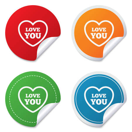 Heart sign icon. Love you symbol. Round stickers. Circle labels with shadows. Curved corner. photo
