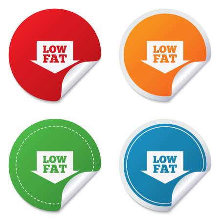Low fat sign icon. Salt, sugar food symbol with arrow. Round stickers. Circle labels with shadows. Curved corner. photo