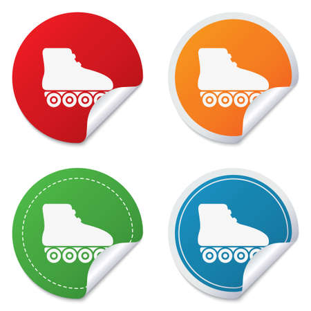rollerblades: Roller skates sign icon. Rollerblades symbol. Round stickers. Circle labels with shadows. Curved corner.