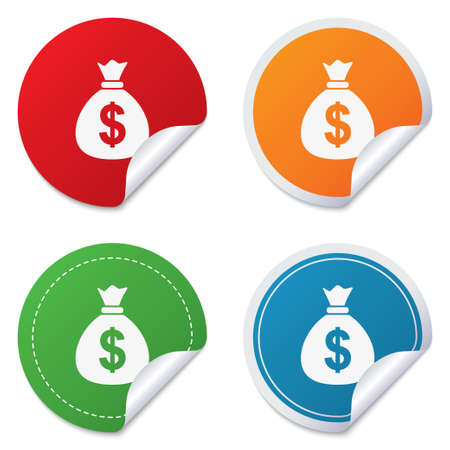 usd: Money bag sign icon. Dollar USD currency symbol. Round stickers. Circle labels with shadows. Curved corner.