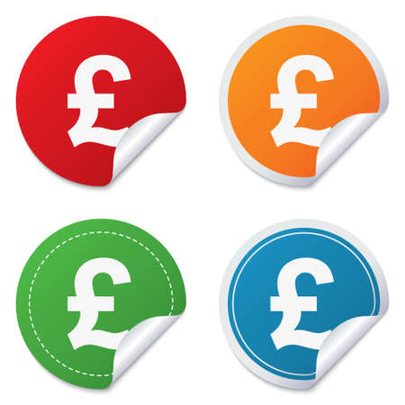 gbp: Pound sign icon. GBP currency symbol. Money label. Round stickers. Circle labels with shadows. Curved corner. Stock Photo