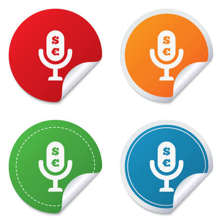 usr: Microphone icon. Speaker symbol. Paid music sign. Round stickers. Circle labels with shadows. Curved corner. Stock Photo