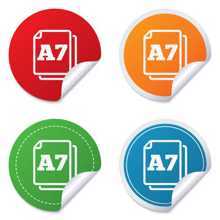 a7: Paper size A7 standard icon. File document symbol. Round stickers. Circle labels with shadows. Curved corner.