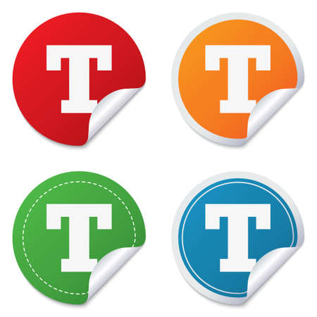 Text edit sign icon. Letter T button. Round stickers. Circle labels with shadows. Curved corner. Stock Photo