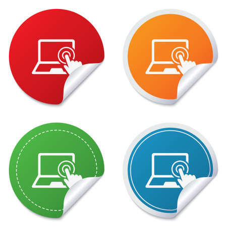 Touch screen laptop sign icon. Hand pointer symbol. Round stickers. Circle labels with shadows. Curved corner. photo