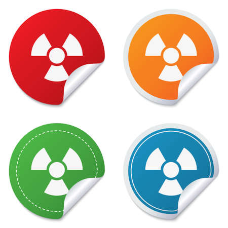Radiation sign icon. Danger symbol. Round stickers. Circle labels with shadows. Curved corner. Stock Photo - 28508540