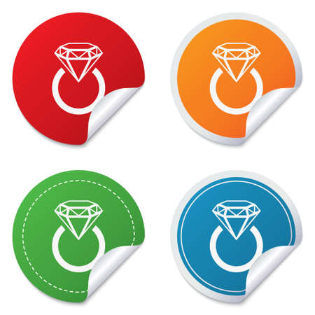 Jewelry sign icon. Ring with diamond symbol. Round stickers. Circle labels with shadows. Curved corner. photo