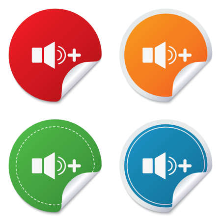 louder: Speaker volume louder sign icon. Sound symbol. Round stickers. Circle labels with shadows. Curved corner.