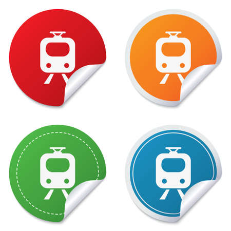 Subway sign icon. Train, underground symbol. Round stickers. Circle labels with shadows. Curved corner. photo