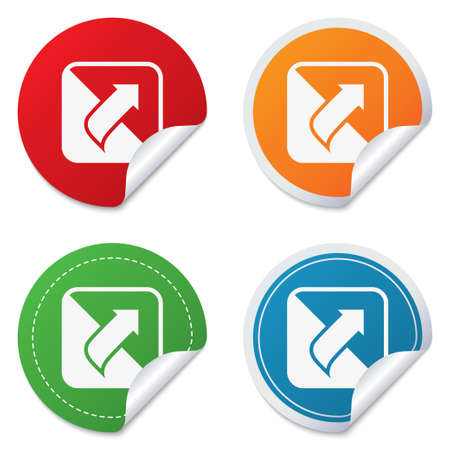Turn page sign icon. Peel back the corner of the sheet symbol. Round stickers. Circle labels with shadows. Curved corner. photo