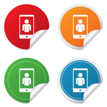 video call: Video call sign icon. Smartphone symbol. Round stickers. Circle labels with shadows. Curved corner. Stock Photo