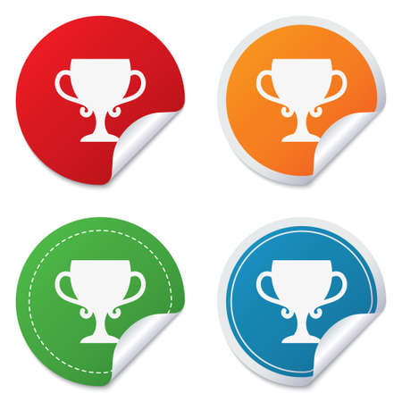 awarding: Winner cup sign icon. Awarding of winners symbol. Trophy. Round stickers. Circle labels with shadows. Curved corner.