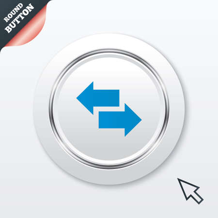 outgoing: Incoming and outgoing calls sign. Upload. Download arrow symbol. White button with metallic line. Modern UI website button with mouse cursor pointer. Vector Illustration
