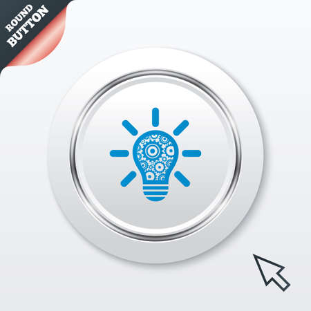 Light lamp sign icon. Bulb with gears and cogs symbol. Idea symbol. White button with metallic line. Modern UI website button with mouse cursor pointer. Vector Vector