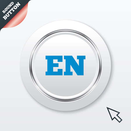 en: English language sign icon. EN translation symbol. White button with metallic line. Modern UI website button with mouse cursor pointer. Vector