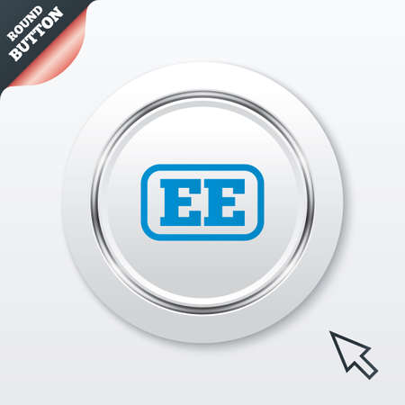 ee: Estonian language sign icon. EE translation symbol with frame. White button with metallic line. Modern UI website button with mouse cursor pointer. Vector