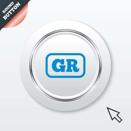 Greek language sign icon. GR Greece translation symbol with frame. White button with metallic line. Modern UI website button with mouse cursor pointer. Vector Vector