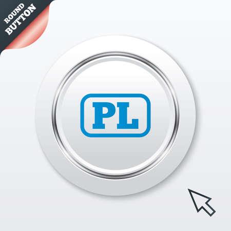 pl: Polish language sign icon. PL translation symbol with frame.