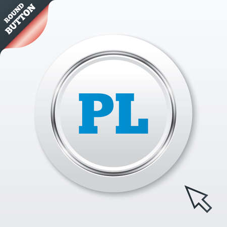 pl: Polish language sign icon. PL translation symbol. White button with metallic line. Modern UI website button with mouse cursor pointer. Vector