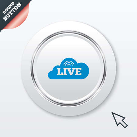 live stream sign: Live sign icon. On air stream symbol. White button with metallic line. Modern UI website button with mouse cursor pointer. Vector